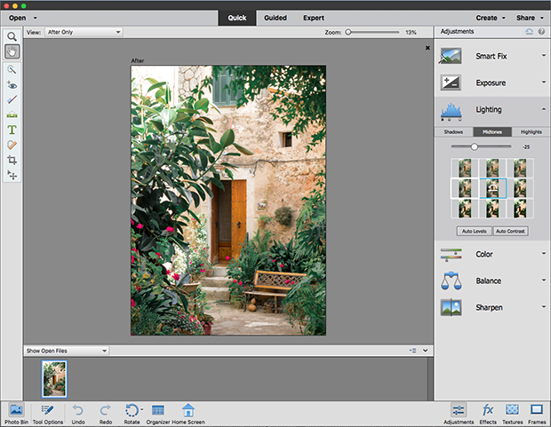 Quick opties in Adobe Photoshop Elements 2019