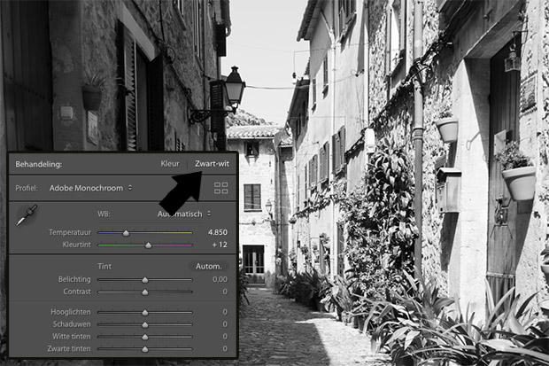 photoshop lightroom zwart-wit